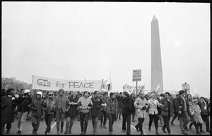 Thumbnail of G.I.s for Peace march against the Vietnam War, the Washington Monument in the             background: Counter-inaugural demonstrations, 1969