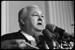 Thumbnail of Congressman Joe R. Pool at a press conference, associated with the House Un-American Activities             Committee hearings on New Left activists and the antiwar movement