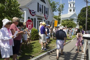 Thumbnail of Pro-immigration rally in front of the Chatham town offices building with             First United Methodist Church in the background: taken at the 'Families Belong Together'             protest against the Trump administration's immigration policies