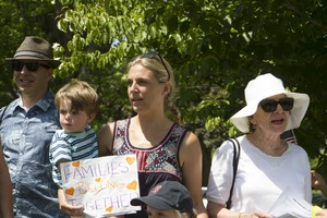 Thumbnail of Family group among the pro-immigration protesters : taken at the 'Families Belong Together' protest against the Trump             administration's immigration policies