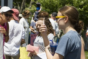 Thumbnail of Pro-immigration rally in front of the Chatham town offices building : taken at the 'Families Belong Together' protest against the Trump administration's immigration policies