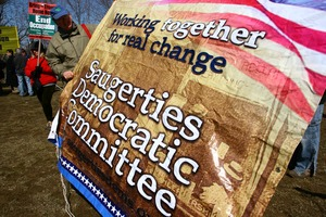 Thumbnail of Sign: 'Working together for real change: Saugerties Democratic Committee': rally and march against the Iraq War