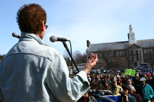 Thumbnail of Unidentified speaker at the microphone, addressing protesters: rally and march against the Iraq War
