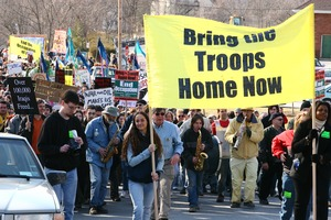Thumbnail of Beginning of the march, led by women holding a banner reading 'Bring the troops             home now': rally and march against the Iraq War