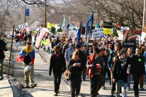 Thumbnail of Marchers in streets of New Paltz: rally and march against the Iraq War