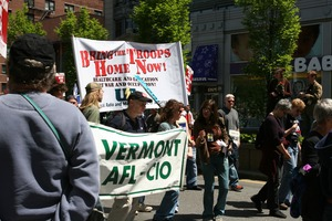 Thumbnail of Marchers from the Vermont AFL-CIO, during the protest against the war in Iraq Taken during the March for Peace, Justice and Democracy