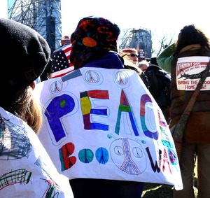 Thumbnail of Woman among the protesters on the National Mall, marching against the War in             Iraq and wearing a banner reading 'Peace: boo war'
