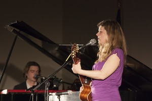 Thumbnail of Dar Williams, performing at the First Congregational Church in             Wellfleet, accompanied by Bryn Roberts on piano