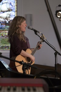Thumbnail of Dar Williams, at sound check at the First Congregational Church in Wellfleet