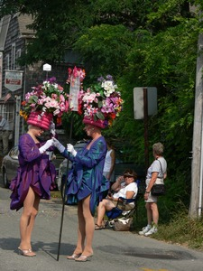 Thumbnail of David Scarbie Mitchell (right) with flowerpot hat : Provincetown Carnival parade
