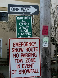 Thumbnail of Signage along Commercial Street for emergency snow route and two-way bicycle             traffic, Provincetown