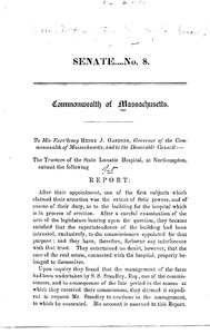 Thumbnail of [ First annual report of the State Lunatic Hospital at Northampton, 1856] Senate No. 8