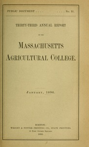 Thumbnail of Thirty-third annual report of the Massachusetts Agricultural College