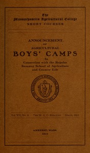 Thumbnail of Announcement of agricultural boys' camps in connection with the regular Summer             School of Agriculture and Country Life M.A.C. Bulletin vol. 7, no. 3
