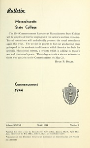 Thumbnail of Commencement 1944 Bulletin Massachusetts State College 36, no. 2