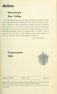 Thumbnail of Commencement 1945 Bulletin Massachusetts State College 37, no. 2