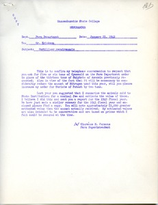 Thumbnail of Memorandum on fertilizer requirements at Massachusetts States College