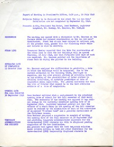 Thumbnail of Report on meeting in President's office on policy to be followed in the event             the new men's dormitories are not completed by September 23, 1946