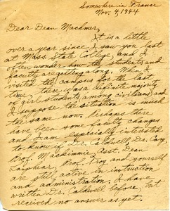 Thumbnail of Letter from Bernard J. Beagarie to William L. Machmer