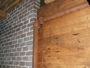Thumbnail of Wood dividing wall and cinder black wall Upper floor of the Cow Barn: Brooks Barn Complex, UMass Amherst