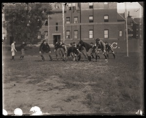 Thumbnail of Football practice outside of South College, Massachusetts Agricultural College
