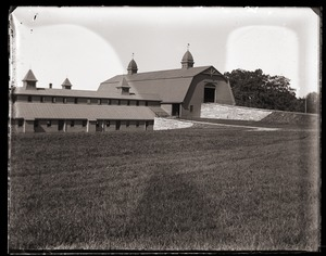 Thumbnail of Front view, main barn and cow barn, Massachusetts Agricultural College             farm