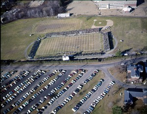Thumbnail of Aerial view of football field and parking lot