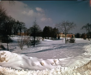 Thumbnail of View of snow on campus, with Machmer Hall, Student Union, and Goessmann             Laboratory (l. to r.) in background