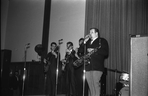 Thumbnail of SENDOFF event (Student Union Ballroom) The Pilgrims on stage: Lennie Baker (vocals and sax)