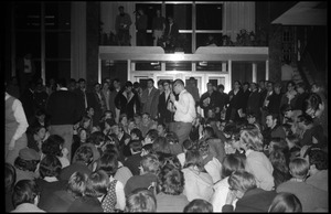 Thumbnail of Sit-in protesting Dow Chemical Co. and the war in Vietnam, Student Union, UMass Amherst Harvey Stone interviews students for WMUA radio