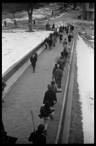 Thumbnail of Demonstration against Dow Chemical Co. and the war in Vietnam outside Whitmore             Hall, UMass Amherst Protesters lining the ramp to the entrance to Whitmore Hall, Herter Hall             (under construction) in background