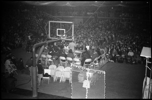 Thumbnail of Open meeting with school administration, Curry Hicks Cage, regarding protests against war in Vietnam Long view of the crowd inside the Cage