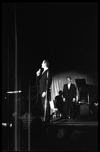 Thumbnail of Winter Carnival: Johnny Carson at the microphone on the Johnny Carson Show, Curry Hicks             Cage, UMass Amherst