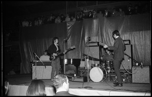 Thumbnail of The  Byrds on stage at Curry Hicks Cage L. to r.: Gram Parsons (organ), Chris Hillman (bass), Kevin Kelley (drums), Roger McGuinn (guitar)
