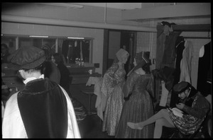 Thumbnail of Roister Doisters presents 'A man for all season, Bowker Auditorium, ' UMass Amherst Dressing room with Richard Guerra, Joseph Wilkins, Richard Gere, Kathy             Atkinson, Vere Drakeford, Michael Walker