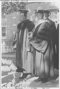 Thumbnail of Hugh P. Baker, J.B. Ely and Payson Smith during Baker's inauguration