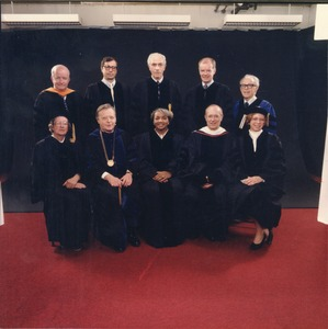 Thumbnail of David C. Knapp and Joseph D. Duffey with three unidentified women and five             unidentified men in academic regalia