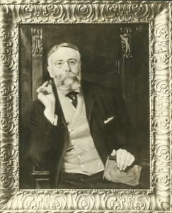 Thumbnail of William H. Bowker with cigar and book