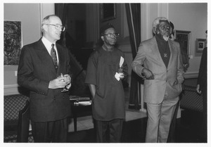Thumbnail of Chinua Achebe at reception with Joseph Duffey and Wilfred Cartey