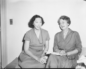 Thumbnail of Helen Curtis sitting indoors with Mrs. Isabelle C. Gonor, new Assistant Dean of Women