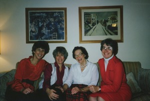 Thumbnail of Helen Curtis sitting indoors with Arlyn Diamond, Lee Edwards, and Nina Scott