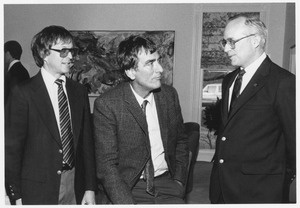 Thumbnail of Chancellor Joseph D. Duffey standing indoors with Maurille J. Fournier and Franklin W. Stahl.