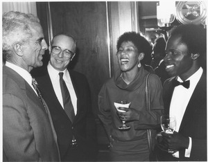 Thumbnail of Joseph D. Duffey conversing with Franklin Williams, Makaziwe Mandela and Isaac Amuah