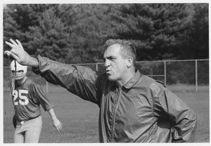Thumbnail of Richard Fredrick MacPherson holding whistle on football field