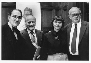 Thumbnail of Hilton Kramer, Henry Koffler, Bette Swados, and Donald Jenkins at dedication