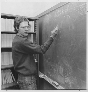 Thumbnail of Joseph H. Taylor, UMass Amherst Professor of Physics and Astronomy, standing at a blackboard
