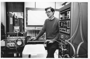 Thumbnail of Joseph H. Taylor, UMass Amherst Professor of Physics and Astronomy, in his laboratory