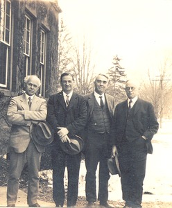Thumbnail of Fred Sears, John Phelan, C. Henry Thompson, and Frank A. Waugh             standing in front of building