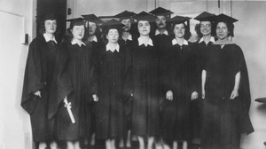 Thumbnail of Class of 1945 women graduates gather after commencement