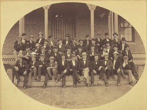 Thumbnail of Class of 1871 members gather on the steps of North College